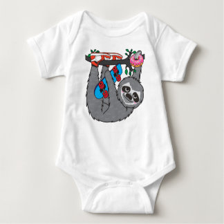 Skater Sloth and the donuts rain Baby Bodysuit