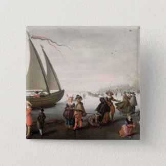Skaters and a golf party on the ice 15 cm square badge