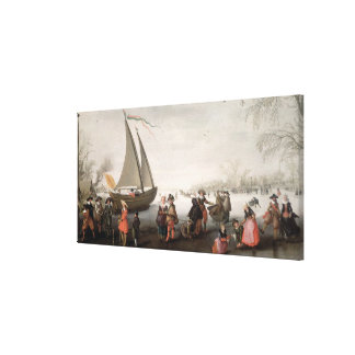 Skaters and a golf party on the ice canvas print