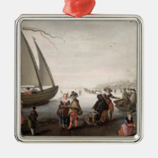 Skaters and a golf party on the ice christmas ornament