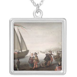 Skaters and a golf party on the ice silver plated necklace