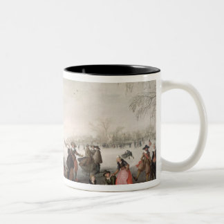 Skaters and a golf party on the ice Two-Tone coffee mug
