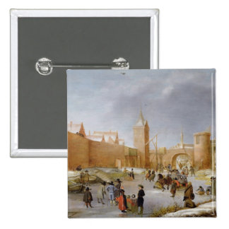 Skaters and Kolf Players Outside City of Kampen 15 Cm Square Badge