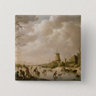 Skaters on a Frozen Canal, 1779 15 Cm Square Badge