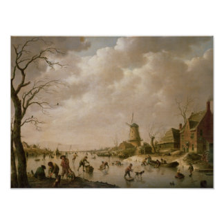 Skaters on a Frozen Canal, 1779 Poster