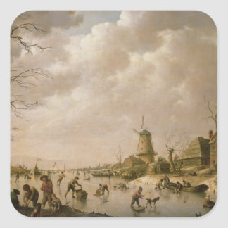 Skaters on a Frozen Canal, 1779 Square Sticker