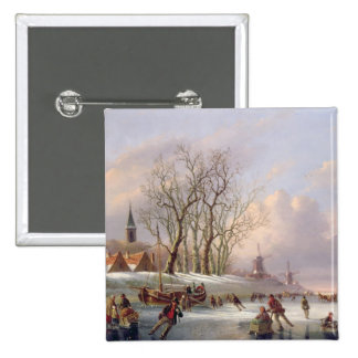 Skaters on a Frozen River before Windmills (oil on 15 Cm Square Badge