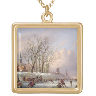 Skaters on a Frozen River before Windmills (oil on Gold Plated Necklace