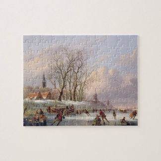 Skaters on a Frozen River before Windmills (oil on Jigsaw Puzzle