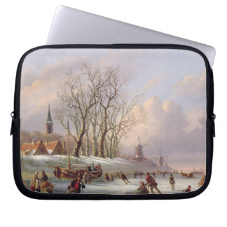 Skaters on a Frozen River before Windmills (oil on Laptop Sleeve