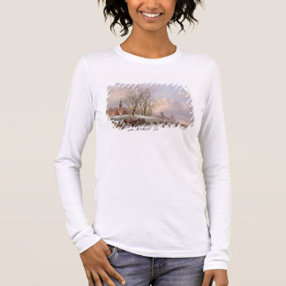 Skaters on a Frozen River before Windmills (oil on Long Sleeve T-Shirt