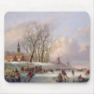 Skaters on a Frozen River before Windmills (oil on Mouse Mat