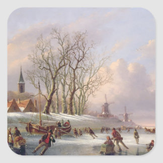 Skaters on a Frozen River before Windmills (oil on Square Sticker