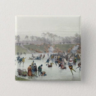 Skaters on the Lake at Bois de Boulogne 15 Cm Square Badge
