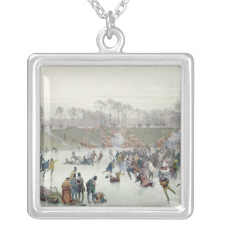 Skaters on the Lake at Bois de Boulogne Silver Plated Necklace