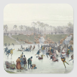 Skaters on the Lake at Bois de Boulogne Square Sticker