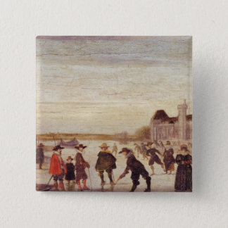 Skaters on the Seine in 1608 15 Cm Square Badge