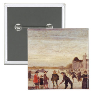 Skaters on the Seine in 1608 Pinback Buttons