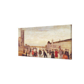 Skaters on the Seine in 1608 Canvas Print
