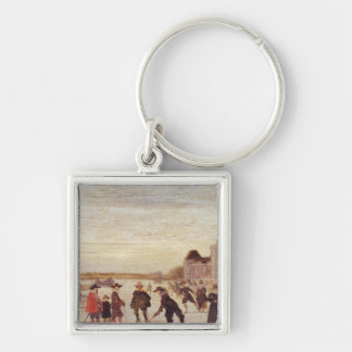 Skaters on the Seine in 1608 Key Ring