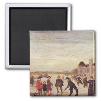 Skaters on the Seine in 1608 Magnet