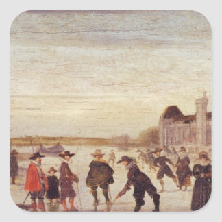 Skaters on the Seine in 1608 Square Sticker
