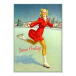 Skaters Waltz Retro Christmas Card 13 Cm X 18 Cm Invitation Card