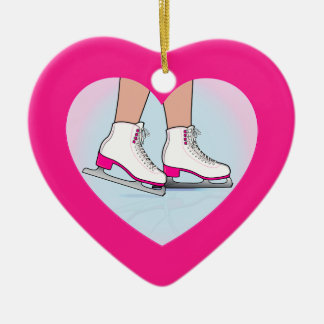 Skates in a Heart Christmas Ornament