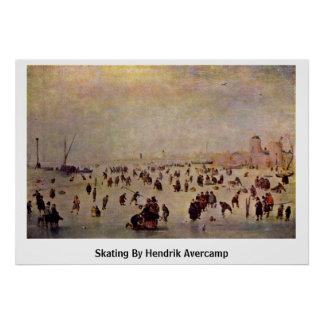 Skating By Hendrik Avercamp Poster