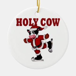 Skating Christmas Cow Round Ceramic Decoration