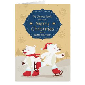 Skating Christmas Polar Bear Greeting & Photo Card