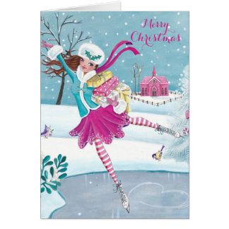 Skating Girl - Christmas Greetings Greeting card