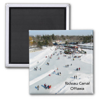 Skating on the Rideau Canal, Ottawa. Square Magnet