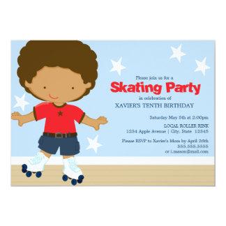 Skating Party   African American boy 13 Cm X 18 Cm Invitation Card
