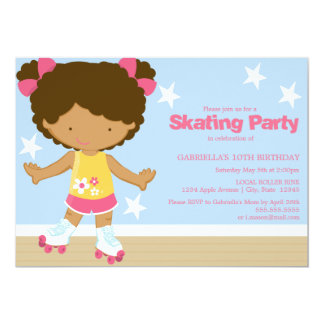 Skating Party   African American girl 13 Cm X 18 Cm Invitation Card