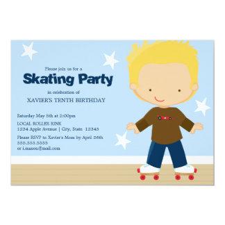 Skating Party   Blonde boy 13 Cm X 18 Cm Invitation Card