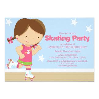 Skating Party | Brunette girl 13 Cm X 18 Cm Invitation Card