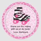 Skating Party Thank You Classic Round Sticker