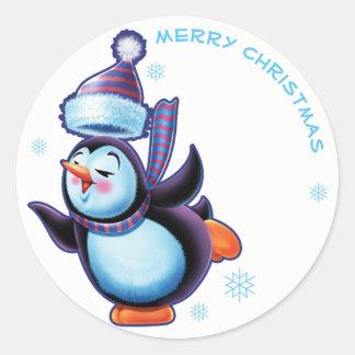 Skating penguin Christmas label sticker