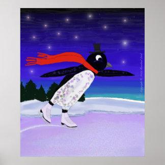 Skating Penguin Poster