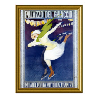 Skating Poster from Italy 1920s Postcard