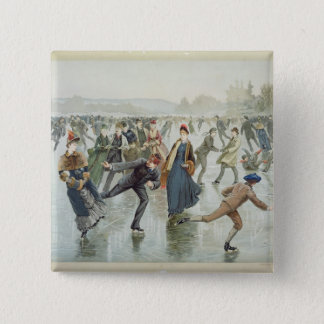 Skating, published by L. Prang and Co. 15 Cm Square Badge