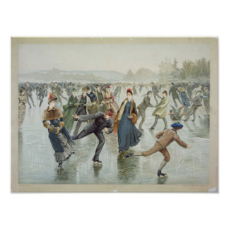 Skating, published by L. Prang and Co. Poster
