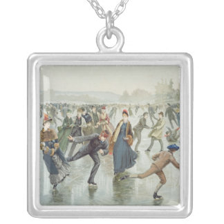 Skating, published by L. Prang and Co. Silver Plated Necklace