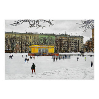 Skating rink at Patriarch's Ponds in Moscow Poster