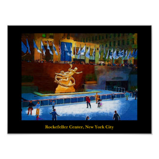 Skating Rink, Rockefeller Center, New York City Poster