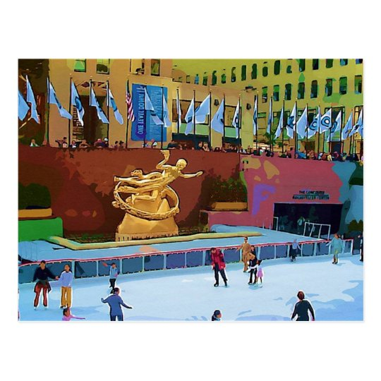 Skating Rink, Rockefeller Centre, New York City Postcard