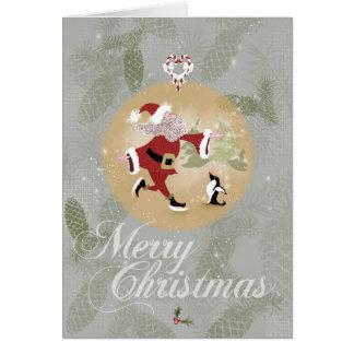Skating Santa Clause Christmas Card