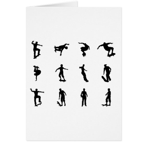 Skating skateboarder silhouettes card