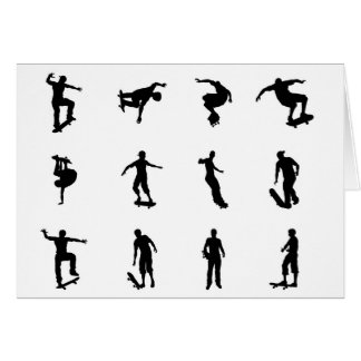 Skating skateboarder silhouettes greeting card